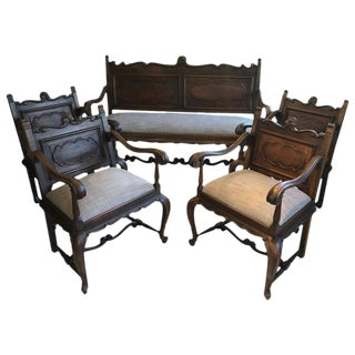 1900s Vintage French Antique Armchairs & Settee- Set of 5 For Sale