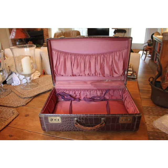 Brown Faux Crocodile Suitcase - Image 2 of 6