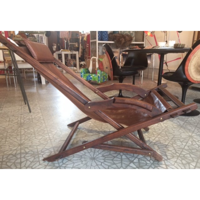 Mid-Century Wooden And Leather Lounge Chair - Image 2 of 4
