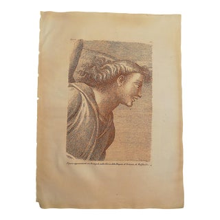 Large Antique 18th Century Sepia Etching of an Archangel - Raphael - Elephant Folio For Sale