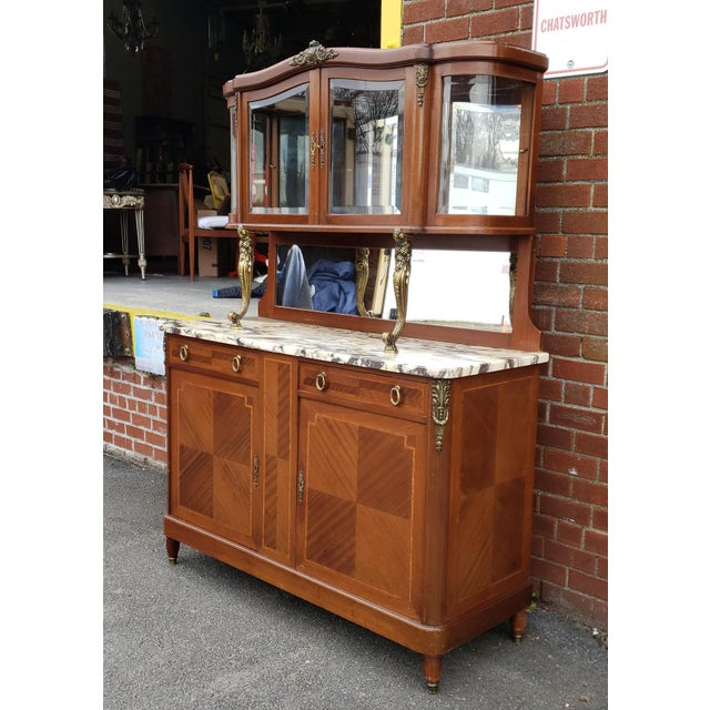 1950s 1950s French Louis XVI Style Walnut & Marble Top Dinning Room Hallway Cabinet For Sale - Image 5 of 13