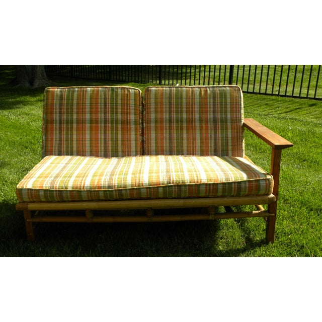 Bamboo Ficks Reed Vintage Day Bed & Leather Back Chairs For Sale - Image 7 of 11