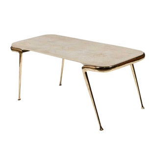 Marble and Sculptural Brass Coffee Table by Cesare Lacca For Sale