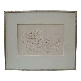 Drawing Sketch Reclining Nude Woman by Bernard Karfiol For Sale