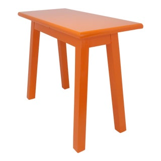 Vintage Mid-Century Orange Wood Side Table For Sale