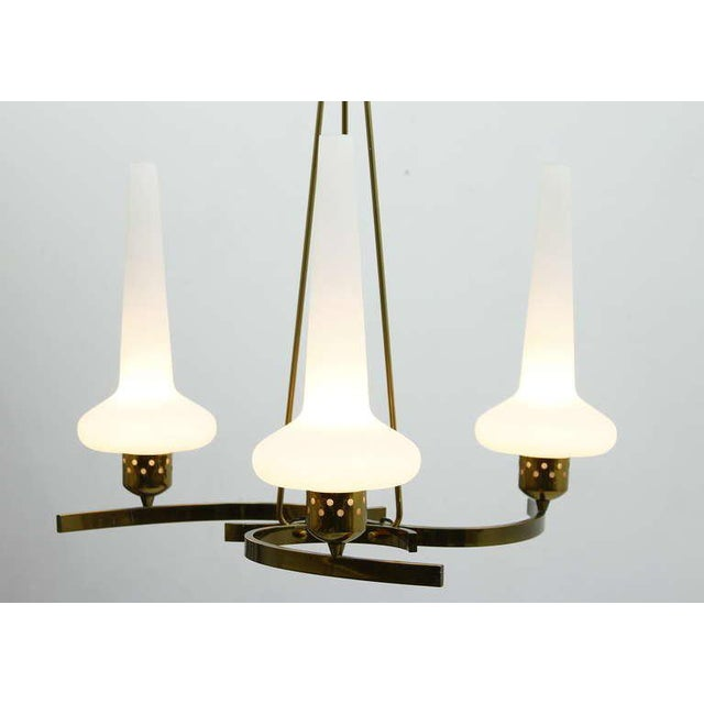 White Glass & Brass Chandelier, Italy 1950`s For Sale - Image 8 of 8