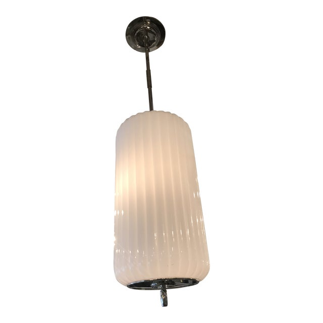 White Glass Fluted Pendant For Sale