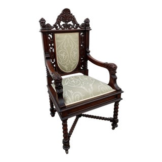 Antique Carved Walnut Jacobean Style Throne Like Chair W/Figural Details For Sale