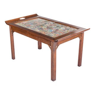 Early 20th Century Postage Stamp Top Butler Style Coffee Table