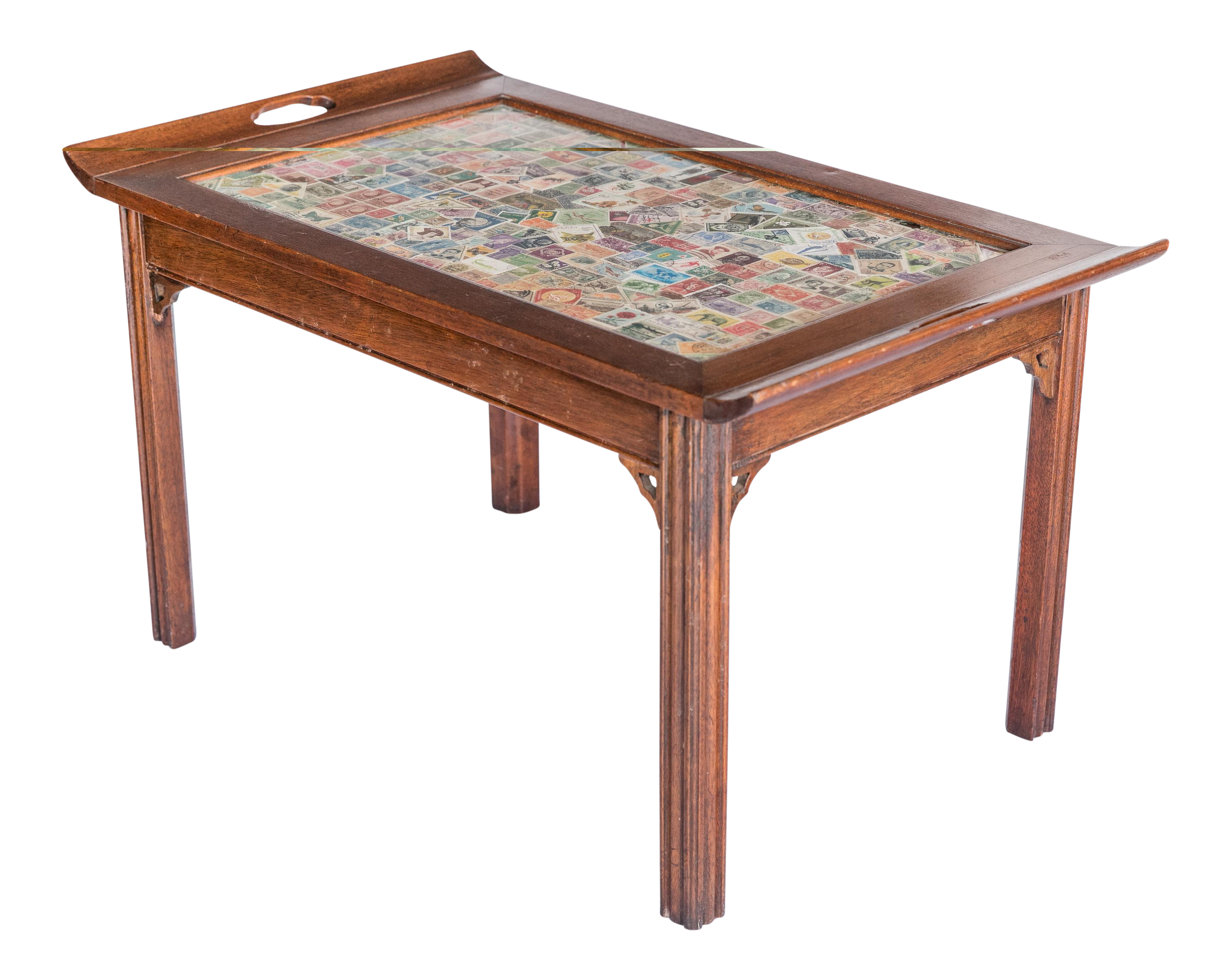 Early 20th Century Postage Stamp Top Butler Style Coffee Table For Sale