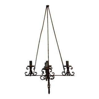Vintage Hand Forged Wall Mounted Hanging Candle Holder For Sale