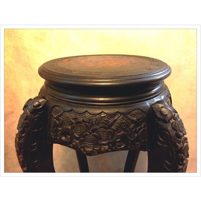 Vintage Asian Chinese Carved Plant Stand Table - Image 6 of 11