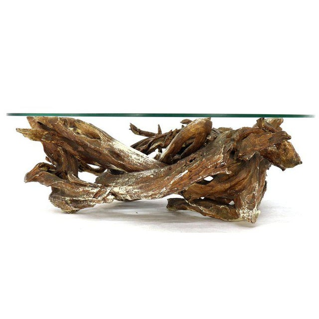 Brown Gesso Washed and Stained Kidney Shape Glass Top Natural Driftwood Coffee Table For Sale - Image 8 of 13