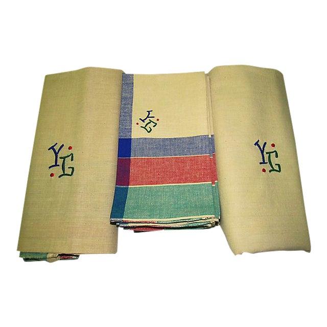 Antique French Art Deco Monogrammed Tablecloths & Napkins - Set of 14 For Sale