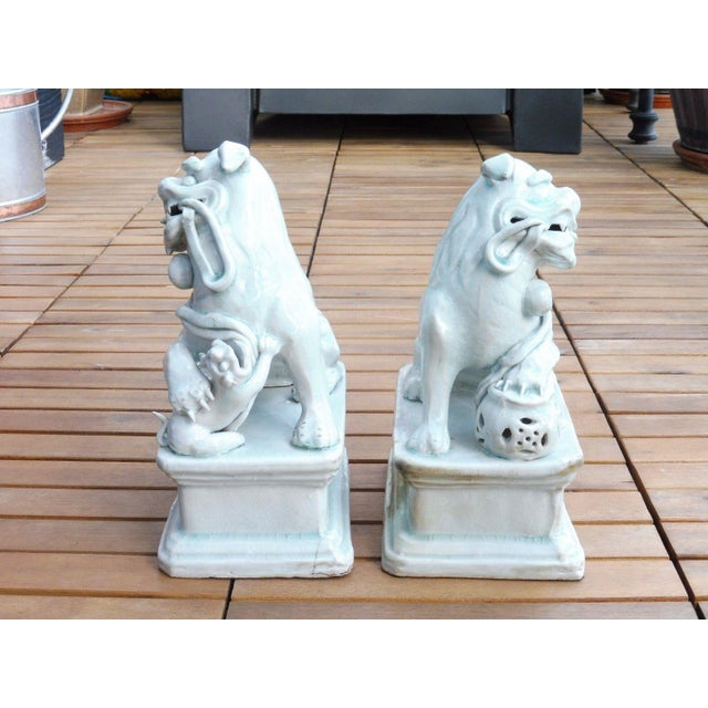 18th C / 19th C Qing Dynasty Chinese Celadon Foo Dogs - a Pair For Sale In Miami - Image 6 of 13