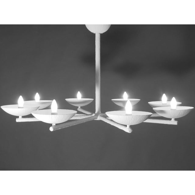 Contemporary Plaster Spoke Chandelier With White Finish For Sale - Image 3 of 11