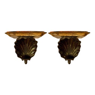 Hollywood Regency Palladio Giltwood Shell Wall Brackets- a Pair For Sale