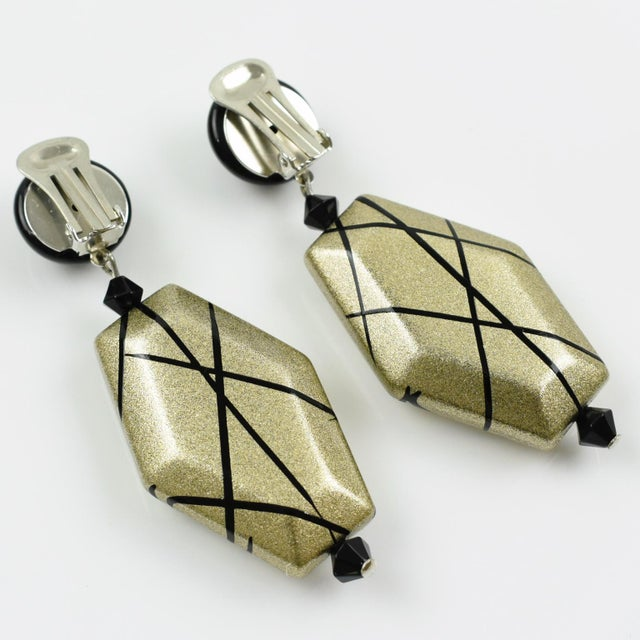 2000 - 2009 Angela Caputi Dangling Clip on Earrings Black and Pale Gold Resin For Sale - Image 5 of 6