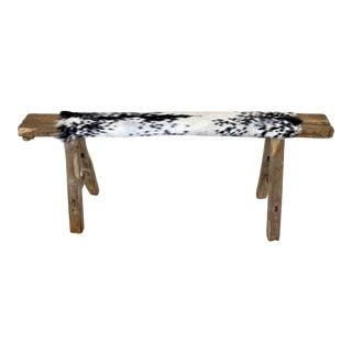 Antique Elm Long Bench W/Goat Hide Upholstery For Sale