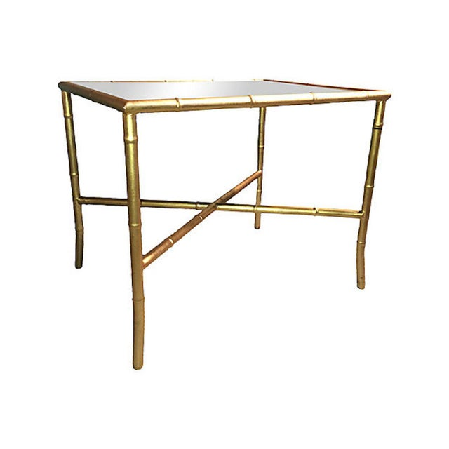 Gold Gilt Faux Bamboo and Mirror Side Table - Image 2 of 7