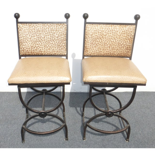 Wrought Iron Swivel Bar Stools - A Pair - Image 3 of 9