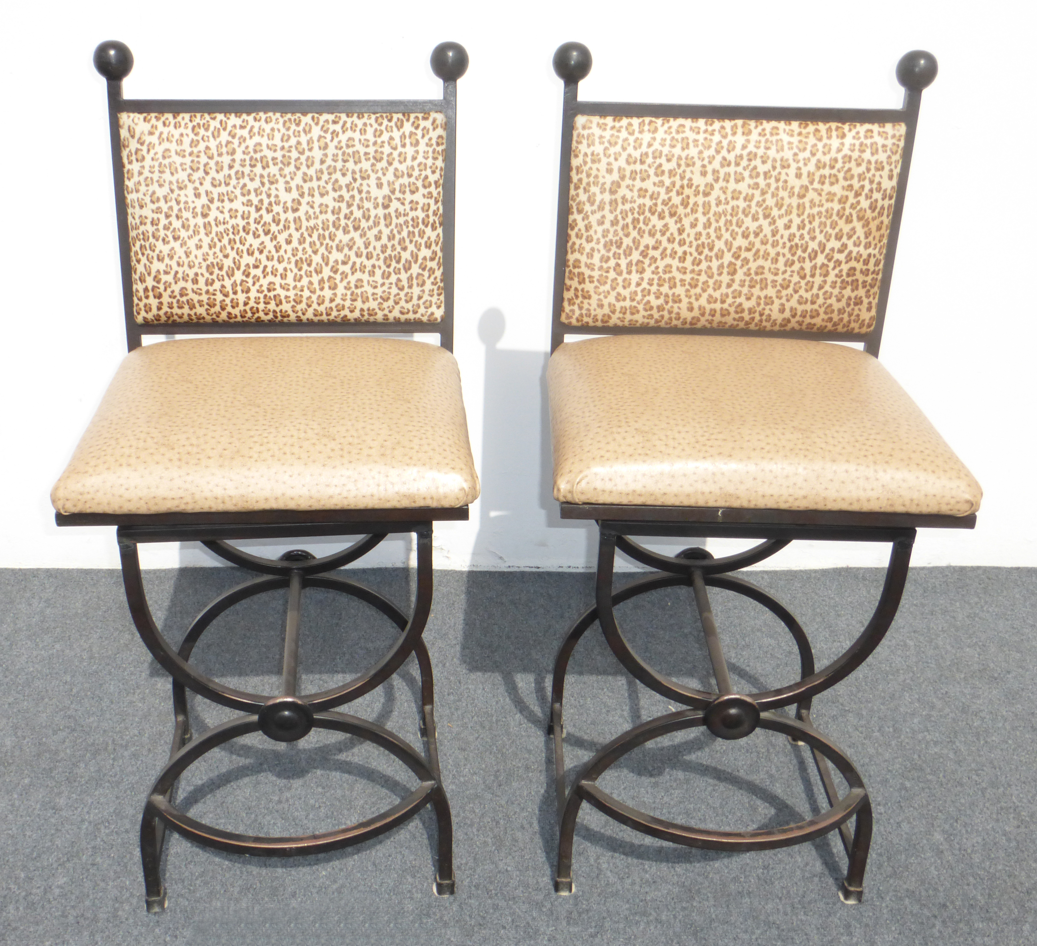 Wrought Iron Swivel Bar Stools   A Pair   Image 3 Of 9