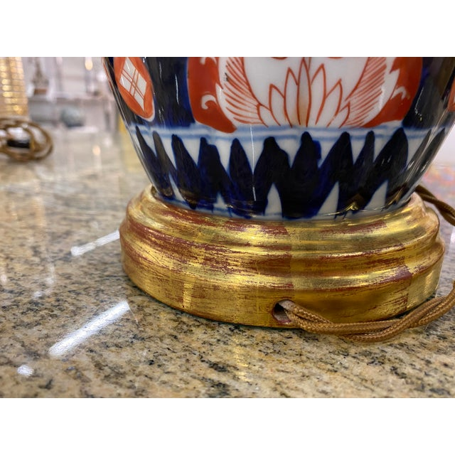 Metal Antique Imari Lamps with Gilt Bronze Mounts - a Pair For Sale - Image 7 of 10