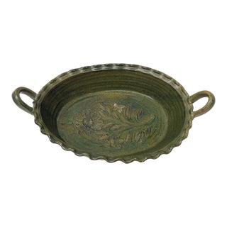 Large Vintage Provincial Green Glazed Terracotta Oval Serving Bowl For Sale