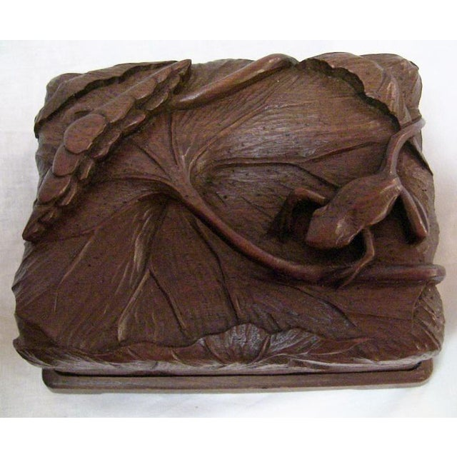 19c Japanese Carved Frog and Waterlily Wooden Box For Sale - Image 9 of 11