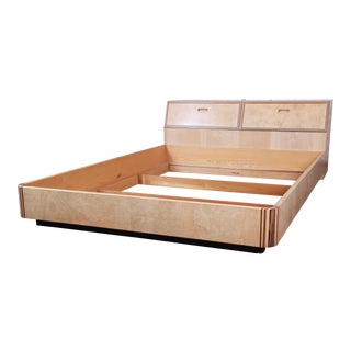 Milo Baughman Style Burl Wood Queen Size Platform Bed by Henredon For Sale