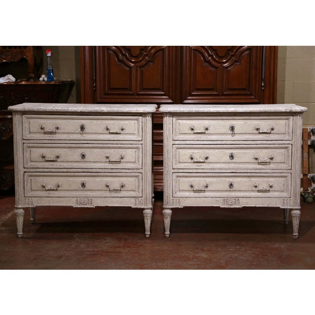 Louis XVI Pair of 19th Century Louis XVI Carved Painted Commodes With Faux Marble Top For Sale - Image 3 of 10