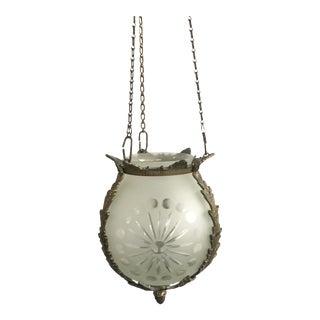 Antique Art Nouveau Globe Orb Pendant Ceiling Light Frosted Glass Bronze For Sale