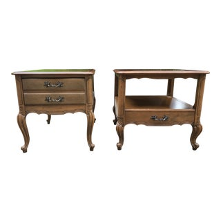 1960s French Provencial Fruitwood Nightstands - a Pair