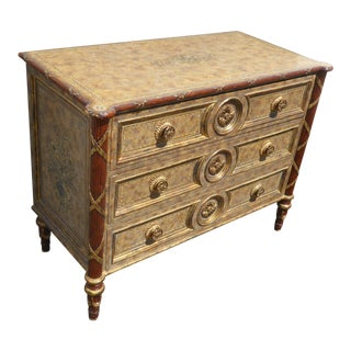 Vintage Maitland Smith Beige & Gold Ornate 3 Drawer Chest ~ Hollywood Regency Dresser For Sale