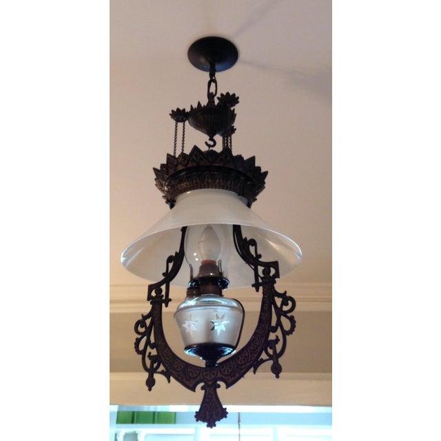 Victorian Cast Iron Pendant Light For Sale - Image 4 of 4