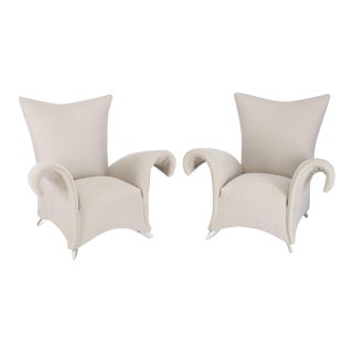 Vintage Mid Century Oversize Lounge Fan Back Barrel Armchairs- a Pair For Sale