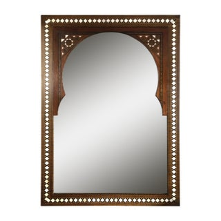 Vintage Moorish Marquetry and Mother of Pearl Inlaid Mirror For Sale