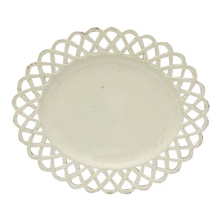 Antique English Creamware Plate W/ Basketweave Edge