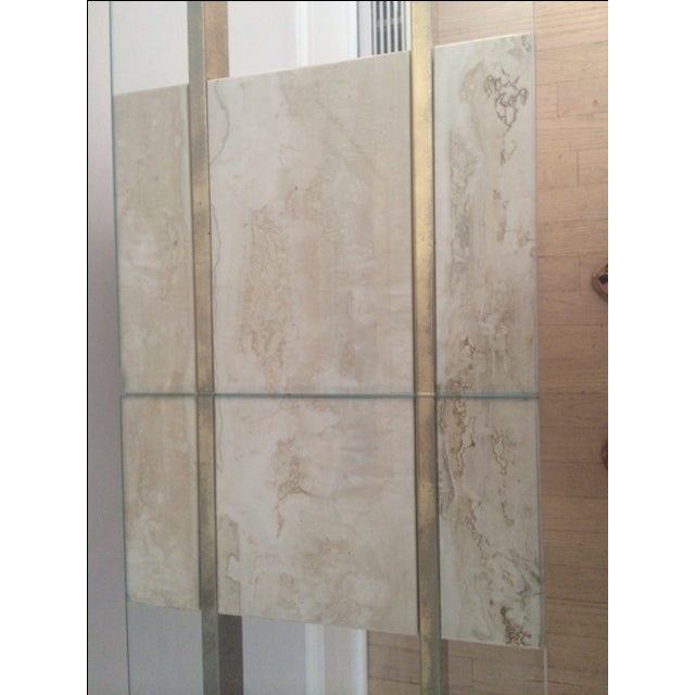 Mid-Century Modern Travertine Console Table & Glass Top - Image 8 of 11