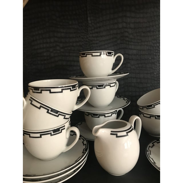 """Fantastic Greek Modern Ionia Collection Pattern China Service for 11 Cups, Saucers & Creamer from Somplex Cup 3.5"""" dia x..."""