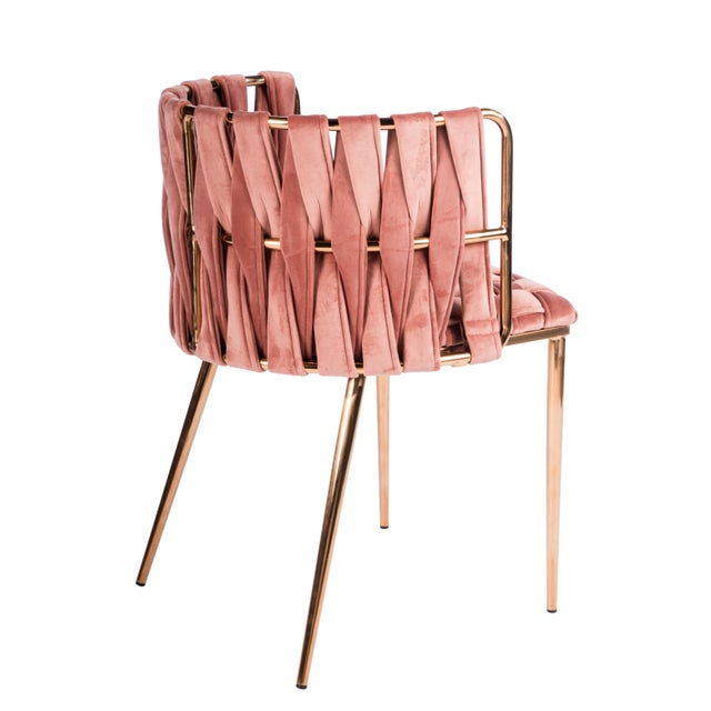 Hollywood Regency Modern Milano Rose Velvet and Gold Dining Chairs - Set of 6 For Sale - Image 3 of 4