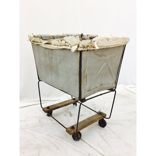 Fabric Vintage Laundry Cart Basket For Sale - Image 7 of 8