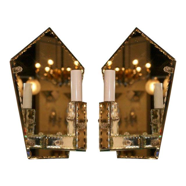 Pair of 1940's Art Deco Mirrored Pentagon Sconces For Sale