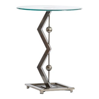 Sculptural Stainless Steel & Glass Side Table by Jeff Mehringer, Design Institute of America, For Sale