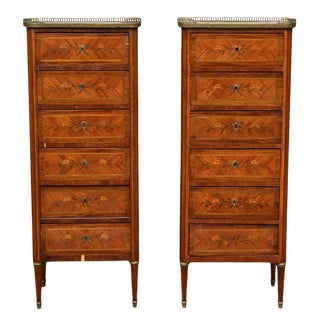 1900s Louis XVI Kingwood and Mahogany Tall Chests of Drawers - a Pair For Sale