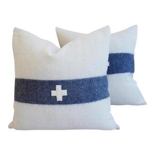 "Nautical White & Blue Stripe Wool & Linen Pillows 22"" Square - a Pair"