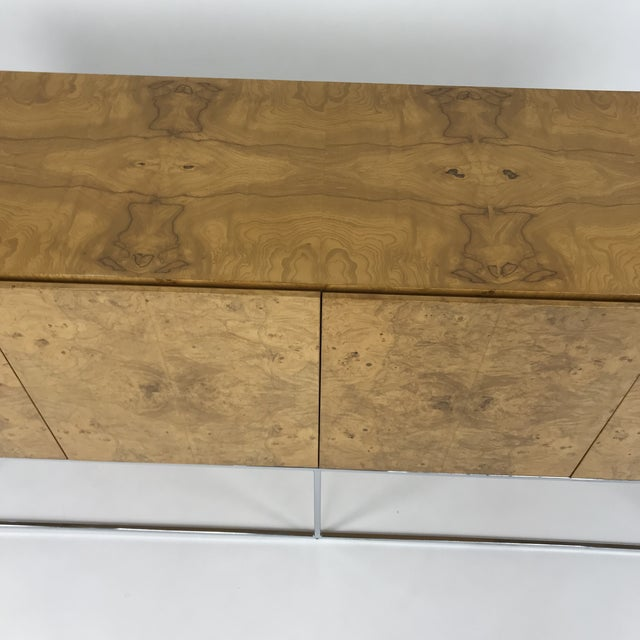 Green Olive Burl Credenza With Chrome Base Designed by Milo Baughman for Thayer Coggin For Sale - Image 8 of 13