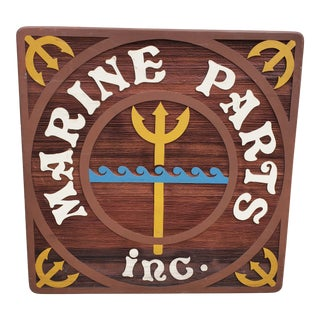 Vintage Coastal Marine Parts Twin Headboard Sign For Sale