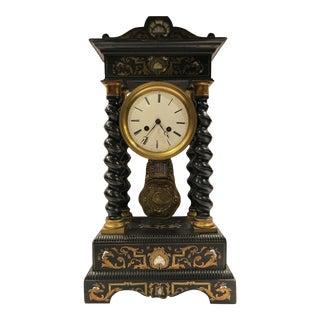 Antique French Ebonized Portico Clock For Sale