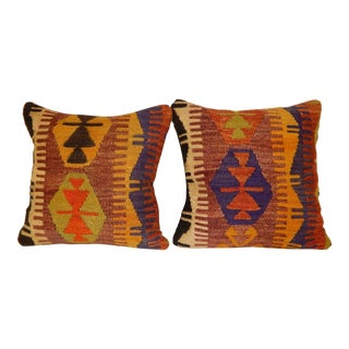 Vintage Turkish Kilim Pillows - a Pair For Sale